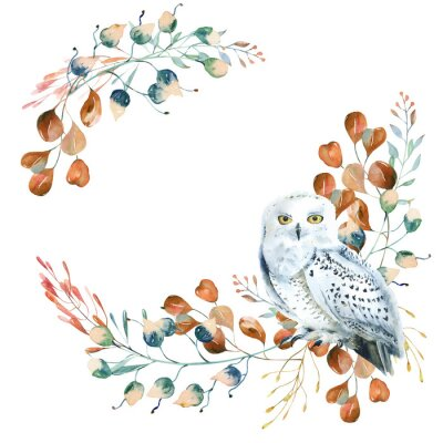 Obraz Watercolor floral wreath with polar owl  and  leaves. Hand painted christmas frame with bird and leaves of silver dollar eucalyptus isolated on white background.