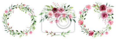 Obraz Watercolor flower wreaths. Floral clip art set. Frames perfectly for print on wedding invitation, greeting card, wall art, stickers and other. Isolated on white background. Hand paint design.