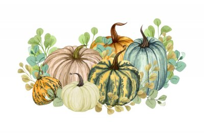 Obraz Watercolor illustration, floral pumpkins, Halloween clip art, autumn design elements, fall, holiday clip art isolated on white background