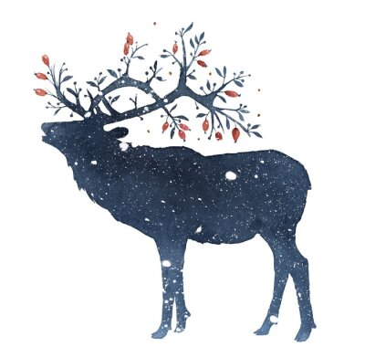 Obraz Watercolor illustration of deer with magic horns in the snow isolated on white background