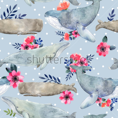 Obraz Watercolor illustration with whale. Seamless pattern with watercolor whales and summer flowers and dots.