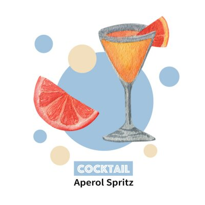 Watercolor layouts of alcohol cocktails Aperol Spritz with decoration. Isolated, high resolution elements for summer menu, invitations, vacation design.