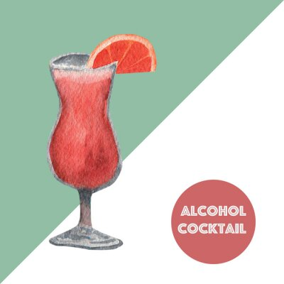 Watercolor layouts of alcohol cocktails Tequila Sunrise with decoration. Isolated, high resolution elements for summer menu, invitations, vacation design.
