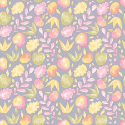 Obraz Watercolor pattern with autumn floral elements: leaves and apples. Collection of elements for party, fall festival or Thanksgiving day.