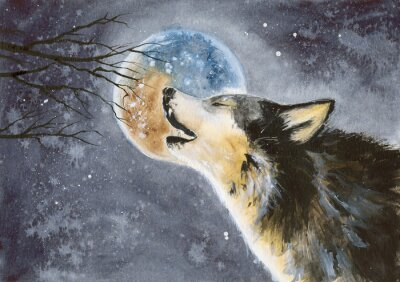 Obraz  Watercolor picture of a wolf with a moon on the background, snow and tree