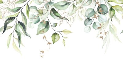 Obraz Watercolor seamless border - illustration with green leaves & branches and gold elements, for wedding stationary, greetings, wallpapers, fashion, backgrounds, textures, DIY, wrappers, cards.