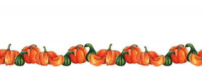 Obraz Watercolor seamless Border with Pumpkins for Thanksgiving Day