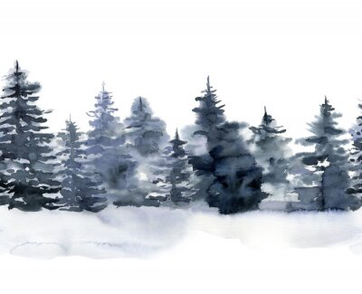 Obraz Watercolor seamless border with winter forest. Hand painted foggy fir trees illustration isolated on white background. Holiday clip art for design, print, fabric or background. Christmas card.