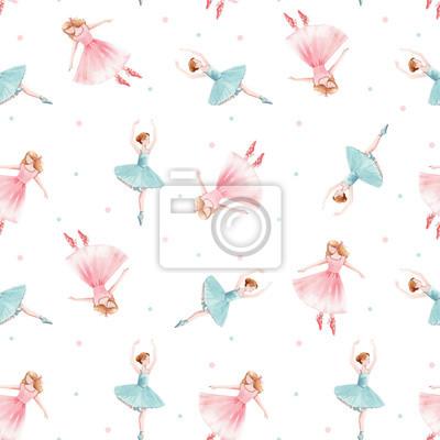 Obraz Watercolor seamless pattern with cute dancing girls ballet nutcracker ballerina clip art isolated illustrations