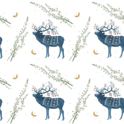 Obraz Watercolor seamless pattern with Scandinavian elements branches, blades of grass.