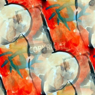 Obraz watercolor seamless red black cubism background