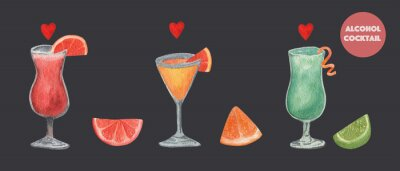 Watercolor set of alcohol cocktails: blue Curacao, Aperol Spritz, Tequila Sunrise. Isolated, high resolution elements for summer menu, invitations, vacation design.