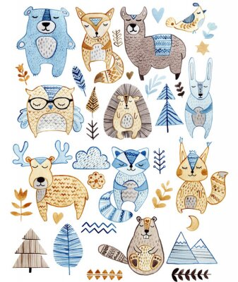 Obraz Watercolor set with forest wildlife animals and herbs. Cute cartoon characters in scandinavian style. Best for textile, wallpaper, decoration, fabric, children design, wrapping paper