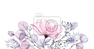 Obraz Watercolor Transparent floral arrangement of roses buds leaves branches in pastel pink, grey, blue, violet, purple vintage ornament bouquet corner, x-ray, wedding design, stationery print, frame