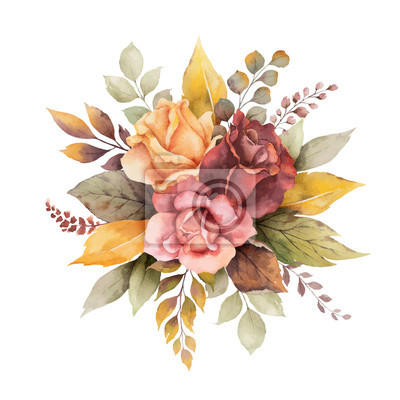 Obraz Watercolor vector autumn arrangement with roses and leaves isolated on white background.