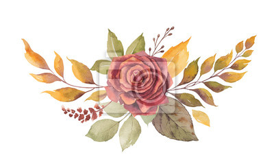 Obraz Watercolor vector autumn wreath with red rose and leaves isolated on white background.