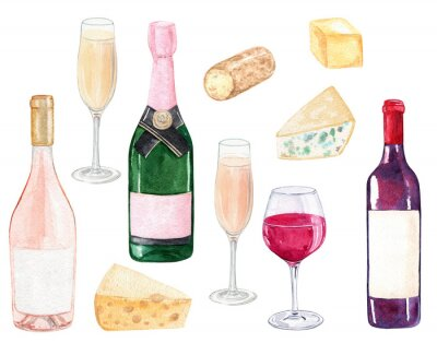 Obraz watercolor wine bottles and cheese set isolated on white background. Champagne and winery clip art. For cafe menu design, posters, restaurant decoration, invitation, bachelorette party