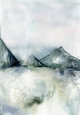 Obraz Watercolor winter minimalistic card of mountain and snow. Hand painted abstract outdoor backdrop. Nature illustration for design, print, fabric or background.