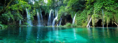 Obraz Waterfalls with clear water in Plitvice National Park, Croatia