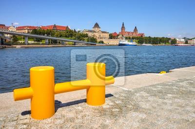 Waterfront w Szczecinie, koncentruj? Si? Na tle, Polska.