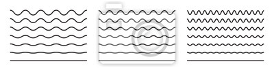 Obraz Wave line and wavy zigzag pattern lines. Vector black underlines, smooth end squiggly horizontal curvy squiggles