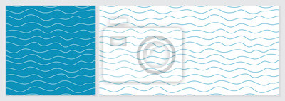 Obraz Wave pattern seamless abstract background. Lines wave pattern with blue and white colors. Summer vector design. Template set with 2 sizes.