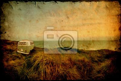 Wczasowiczów plaża - retro obraz