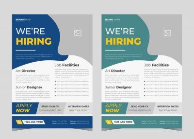 Obraz We are hiring flyer design. Job offer leaflet template. Job vacancy flyer poster template design