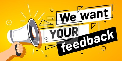 Obraz We want your feedback. Customer feedbacks survey opinion service, megaphone in hand promotion banner. Promotional advertising, marketing speech or client support vector illustration