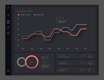 Web app Dashboard UI and UX Kit. Elements of infographics on a black background. Use in presentation templates, mobile app and corporate report.