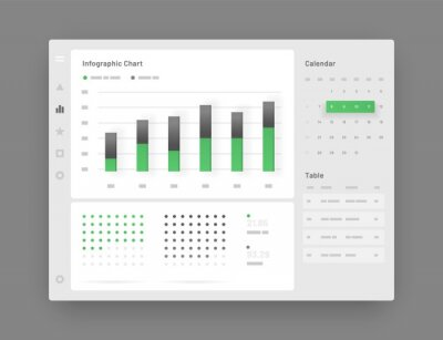Web app Dashboard UI and UX Kit. Elements of infographics Use in presentation templates, mobile app and corporate report.