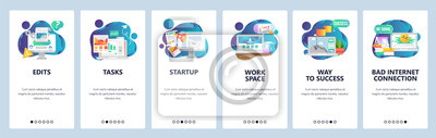 Web site onboarding screens. Business management and software development. Menu vector banner template for website and mobile app development. Modern design flat illustration.