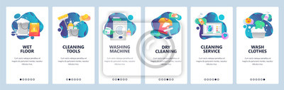 Obraz Web site onboarding screens. Cleaning, floor, washing clothes and dry laundry. Menu vector banner template for website and mobile app development. Modern design flat illustration.