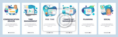 Obraz Web site onboarding screens. Online chat, dating, social media and time management. Menu vector banner template for website and mobile app development. Modern design flat illustration.