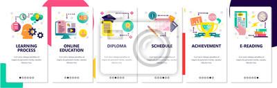 Obraz Web site onboarding screens. Online education and learning process. Menu vector banner template for website and mobile app development. Modern design flat illustration.
