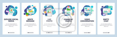 Web site onboarding screens. Social media services, online chat and dating profiles. Menu vector banner template for website and mobile app development. Modern design flat illustration.