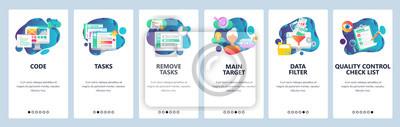 Web site onboarding screens. Task management, quality control and data filtering. Menu vector banner template for website and mobile app development. Modern design flat illustration.