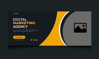 Obraz webinar facebook cover in abstract design, business marketing banner  template