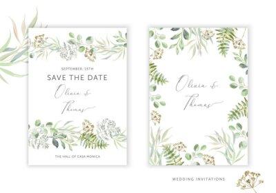Obraz Wedding greenery cards, poster design. Green leaves, fern border, frame, white background. Vector illustration. Romantic floral arrangements. Invitation template