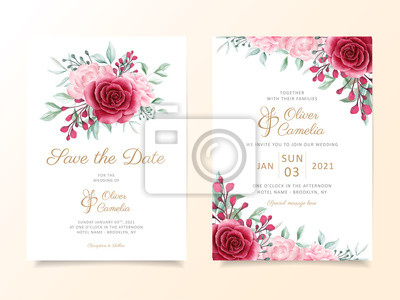 Wedding Invitation Card Template Set With Floral Bouquet And Obrazy Redro