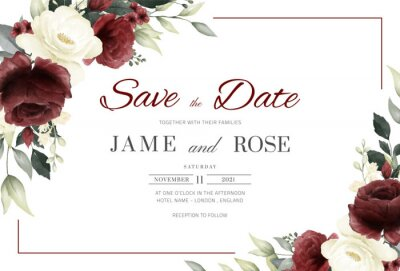 Obraz Wedding invitation card template with red and white rose watercolor and frame vector