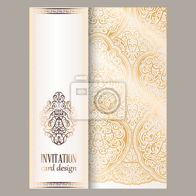Obraz Wedding Invitation Card With Gold Shiny Eastern And