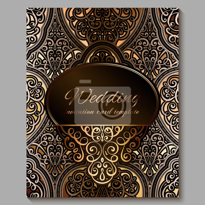 Wedding Invitation Card With Gold Shiny Eastern And Baroque Rich Obrazy Redro