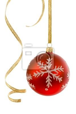 Obraz Weihnachtskugel mit gewelltem Geschenkband