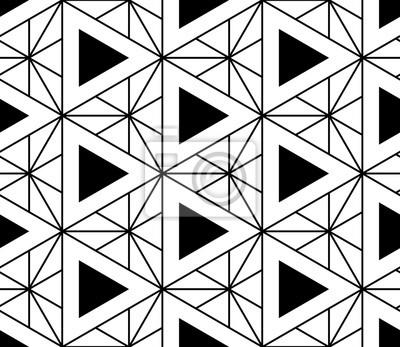 Obraz Wektor bez szwu czarno-biały wzór świętej geometrii, Nowoczesny druku tekstylny z iluzji, abstrakcyjne tekstury, Symetryczny powtarzania tła