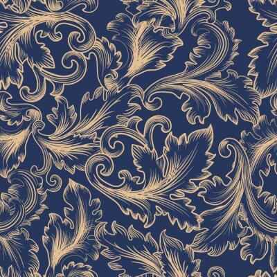 Obraz Wektor bez szwu deseń w stylu barokowym. Vintage tło dla zaproszenie, tkanin
