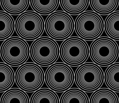 Obraz Wektor bez szwu geometrii nowoczesny wzór okrąża koncentrycznego, czarno-białe abstrakcyjne geometryczne tło, modny, monochromatyczny druk retro tekstury, projektowanie mody hipster