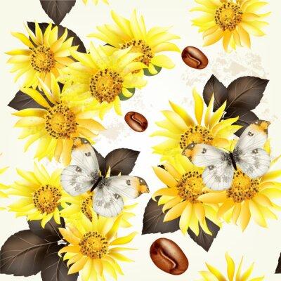 Obraz Wektor bez szwu grunge wzór tapety z żółtymi kwiatami