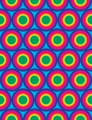 Obraz Wektor bez szwu kolorowe nowoczesna geometria koła wzór, kolor tęczy abstrakcyjne geometryczne tło, modne wielobarwny druk, retro tekstury, projektowanie mody hipster