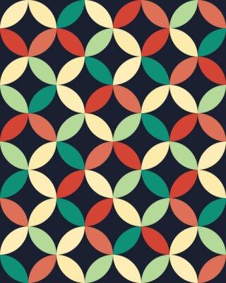 Obraz Wektor bez szwu kolorowe nowoczesna geometria nakładających się okręgi wzór, kolor abstrakcyjne geometryczne tło, poduszka wielobarwny druk, retro tekstury, projektowanie mody hipster